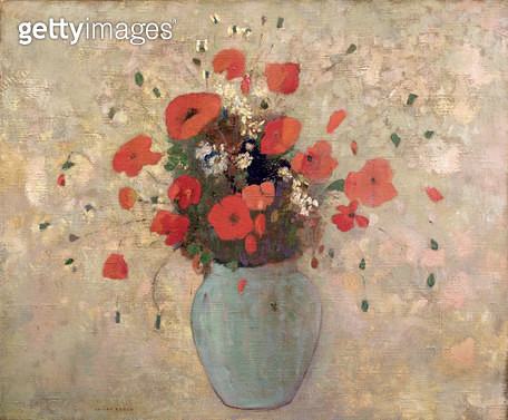 <b>Title</b> : Vase of poppies (oil on canvas)<br><b>Medium</b> : oil on canvas<br><b>Location</b> : Private Collection<br> - gettyimageskorea