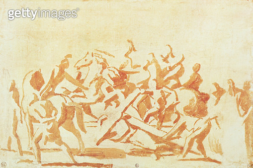 <b>Title</b> : Study of Christ Carrying the Cross (chalk and wash on paper)<br><b>Medium</b> : bistre wash with black chalk on paper<br><b>Location</b> : Musee des Beaux-Arts, Dijon, France<br> - gettyimageskorea