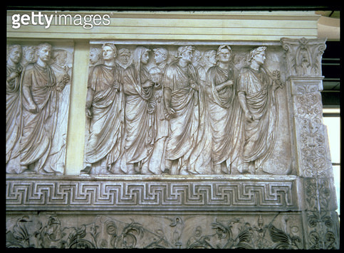 <b>Title</b> : The Inaugural sacrificial procession, relief frieze on the exterior of the north or south wall of the altar, Roman, 9 BC (photo)<br><b>Medium</b> : <br><b>Location</b> : Ara Pacis (Altar of Peace), Rome, Italy<br> - gettyimageskorea