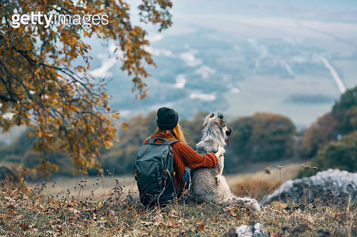 Woman tourist with a dog in a hike resting their back to the camera - gettyimageskorea
