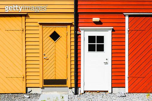 Details of the colorful rorbuer of Alnes, Godoya Island, Norway - gettyimageskorea