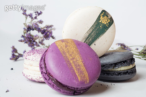 Close-Up Of Macaroons On White Background - gettyimageskorea