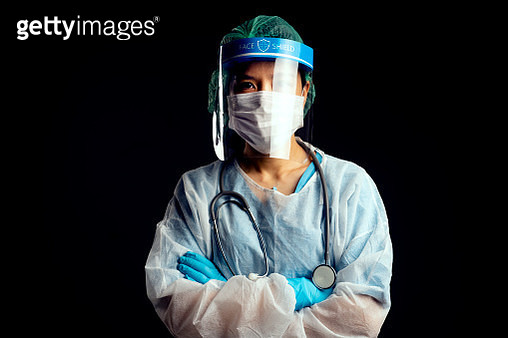 doctor in PPE suit uniform has stress in Coronavirus outbreak  and Emotional stress of overworked doctor and medical care team during covid-10 period. - gettyimageskorea