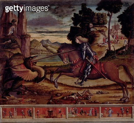 <b>Title</b> : St. George Killing the Dragon, 1516 (oil on canvas)Additional InfoSaint Georges Combattant le Dragon; predella panel with four s<br><b>Medium</b> : oil on canvas<br><b>Location</b> : San Giorgio Maggiore, Venice, Italy<br> - gettyimageskorea