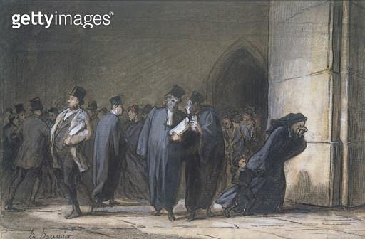 <b>Title</b> : At the Palace of Justice, c.1862-65 (pen & ink, gouache and w/c on paper)<br><b>Medium</b> : pen and ink, gouache and watercolour on paper<br><b>Location</b> : Musee de la Ville de Paris, Musee du Petit-Palais, France<br> - gettyimageskorea
