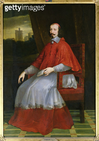<b>Title</b> : Portrait of Cardinal Jules Mazarin (1602-61) (oil on canvas)<br><b>Medium</b> : oil on canvas<br><b>Location</b> : Musee Conde, Chantilly, France<br> - gettyimageskorea