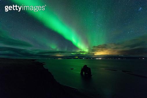 Aurora Borealis over Hvitserkur , Iceland - gettyimageskorea