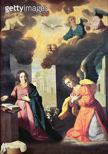 <b>Title</b> : The Annunciation (oil on canvas)<br><b>Medium</b> : oil on canvas<br><b>Location</b> : Musee de Grenoble, France<br> - gettyimageskorea