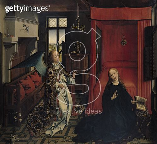 <b>Title</b> : The Annunciation (oil on panel)<br><b>Medium</b> : oil on panel<br><b>Location</b> : Louvre, Paris, France<br> - gettyimageskorea