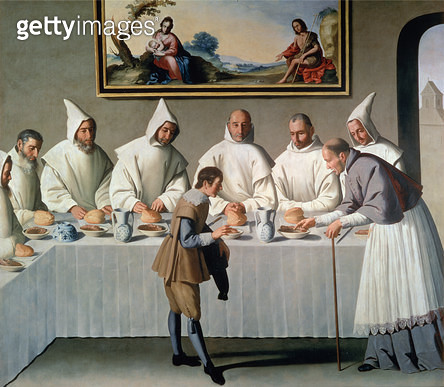 <b>Title</b> : St. Hugh of Cluny (1024-1109) in the Refectory of the Carthusians, 1633 (oil on canvas)Additional InfoSaint Hugues benit au refe<br><b>Medium</b> : oil on canvas<br><b>Location</b> : Museo de Bellas Artes, Seville, Spain<br> - gettyimageskorea