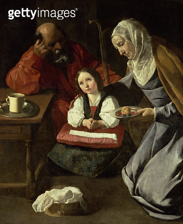 <b>Title</b> : The Holy Family (oil on canvas) (for details see 91651-2)<br><b>Medium</b> : <br><b>Location</b> : Private Collection, Madrid, Spain<br> - gettyimageskorea
