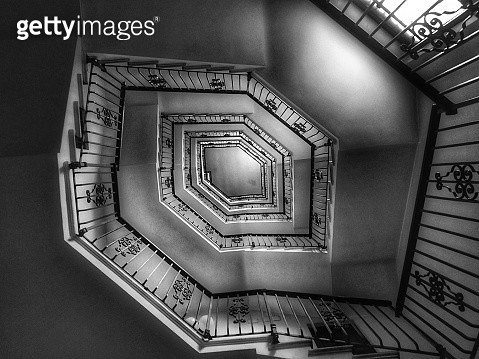 Spiral staircase seen from below - gettyimageskorea