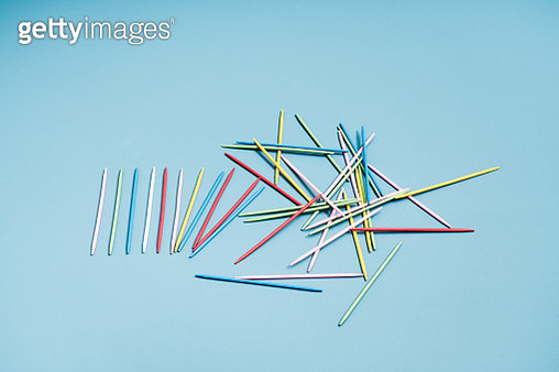 Colored sticks placed in line which turns into chaos - gettyimageskorea