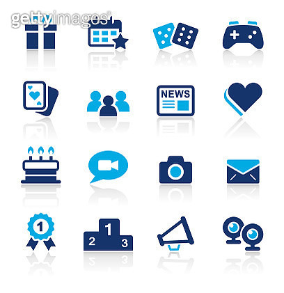 Social Media Two Color Icons Set - gettyimageskorea