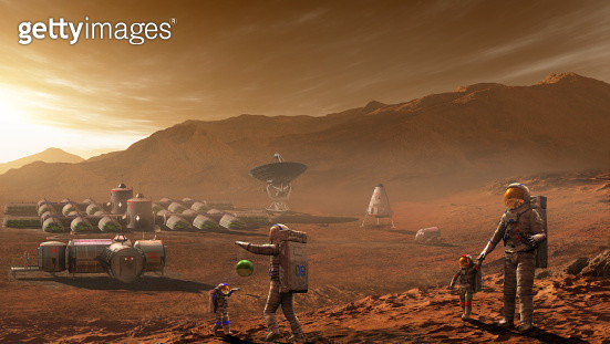 Future Mars colonists playing with children on Mars, a place they call home. - gettyimageskorea