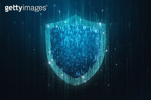 Security shield with blue glowing on binary matrix stream background. - gettyimageskorea