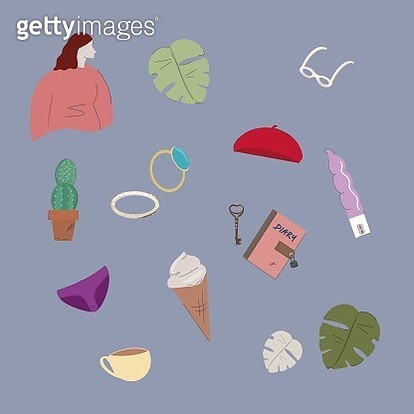 Girl, women, thing, object, stuff, cute, collage, combinations, togetherness - gettyimageskorea