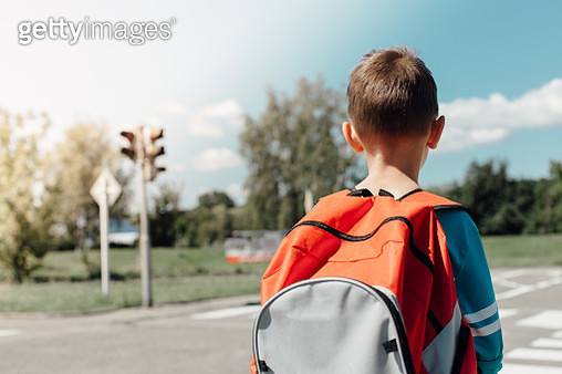 Rear View Of Schoolboy Carrying Backpack While Standing On Road - gettyimageskorea