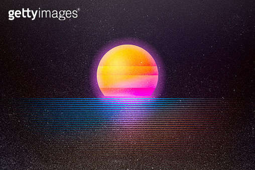 A retro background with a setting sun over neon colored water.  Styled after imagery and design from the 1980's and early 90's. - gettyimageskorea
