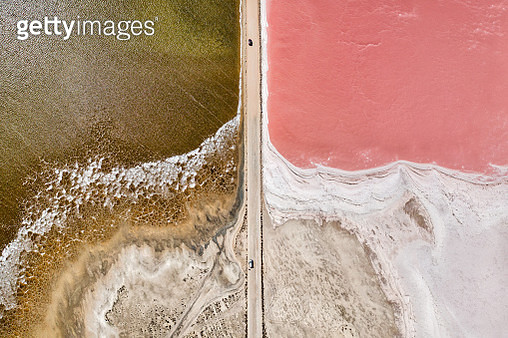 Aerial view over pink salt lake in South Australia. Lake MacDonnell, Point Sinclair - South Australia - gettyimageskorea