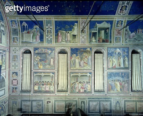 <b>Title</b> : View of the south wall depicting scenes from the Life of Joachim and Anna and the Life of Christ, c.1305 (fresco)Additional Info<br><b>Medium</b> : <br><b>Location</b> : Scrovegni (Arena) Chapel, Padua, Italy<br> - gettyimageskorea