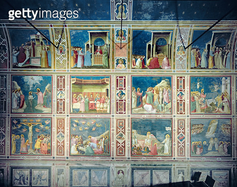 <b>Title</b> : View of the north wall depicting scenes from the Life of the Virgin and the Life of Christ, c.1305 (fresco)<br><b>Medium</b> : fresco<br><b>Location</b> : Scrovegni (Arena) Chapel, Padua, Italy<br> - gettyimageskorea