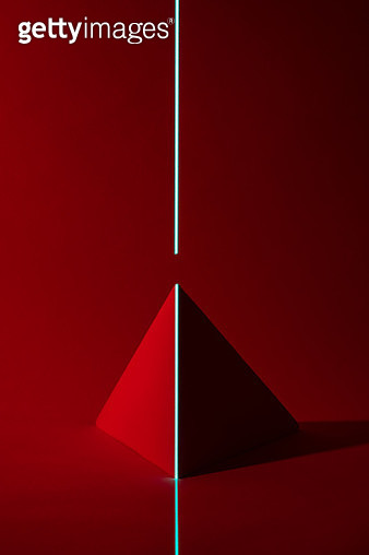 Blue Green Colored Laser Scanning Geometric Shape in Red Tone. - gettyimageskorea
