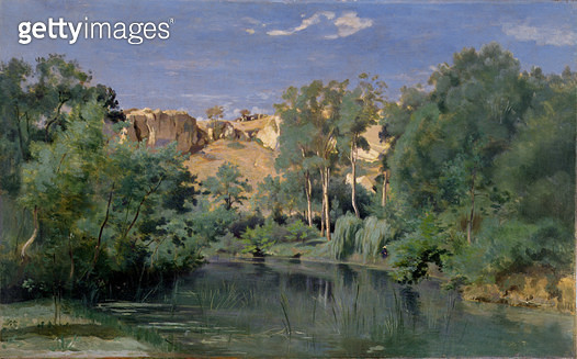 Wooded Landscape with a Pond/ c.1830's (oil on canvas) - gettyimageskorea