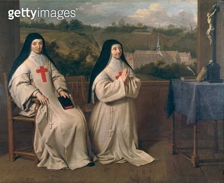 <b>Title</b> : Two Nuns (oil on canvas)Additional InfoAbbey run by Marie Angelique Arnauld;<br><b>Medium</b> : <br><b>Location</b> : Private Collection<br> - gettyimageskorea