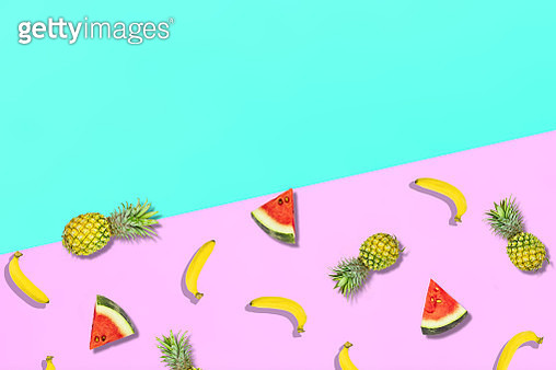 High Angle View Of Fruits Over Colored Background - gettyimageskorea