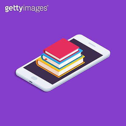 Education Concept. Flat, Isometric illustration with Smartphone and Stack of Books. - gettyimageskorea