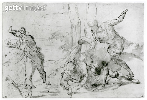 <b>Title</b> : The Death of St. Peter Martyr (1205-52) (pen & ink and bistre on paper) (b/w photo)Additional InfoLa Mort de Saint Pierre Martyr<br><b>Medium</b> : pen and ink and bistre on paper<br><b>Location</b> : Musee Conde, Chantilly, France<br> - gettyimageskorea