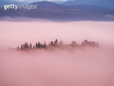 Pink color fog cover mountains - gettyimageskorea