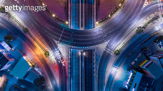 aerial top view of bangkok roundabout road at night, thailand. - gettyimageskorea