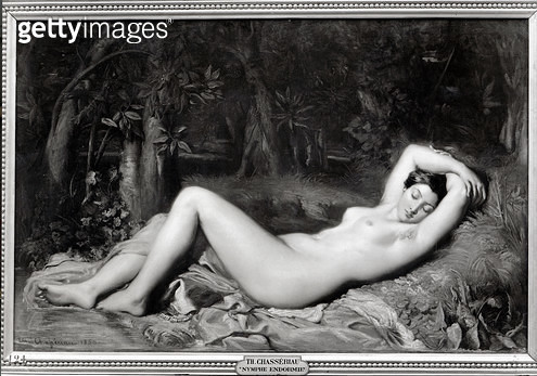 <b>Title</b> : Sleeping Nymph (oil on canvas) (b/w photo)<br><b>Medium</b> : oil on canvas<br><b>Location</b> : Musee Calvet, Avignon, France<br> - gettyimageskorea