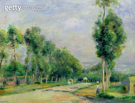 <b>Title</b> : The Road to Versailles at Louveciennes (oil on canvas)<br><b>Medium</b> : oil on canvas<br><b>Location</b> : Musee des Beaux-Arts, Lille, France<br> - gettyimageskorea