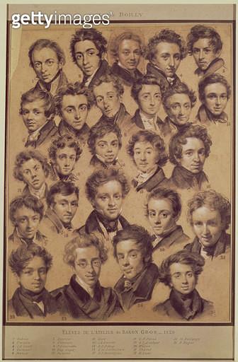<b>Title</b> : Twenty Five Pupils from the Studio of Antoine Jean Gros (1771-1835) 1820 (charcoal & chalk on paper)<br><b>Medium</b> : charcoal and chalk on paper<br><b>Location</b> : Musee de la Ville de Paris, Musee Carnavalet, Paris, France<br> - gettyimageskorea