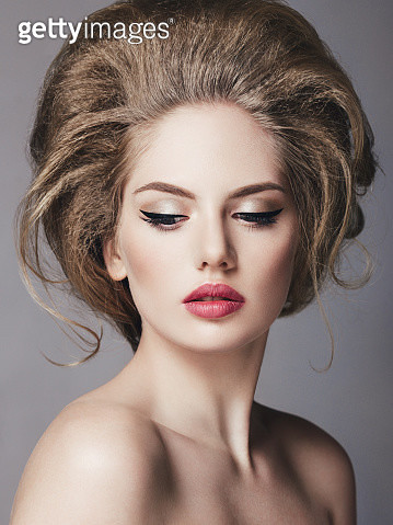 Beautiful woman with volume hairstyle - gettyimageskorea