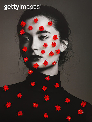 Analog collage with female portrait and red flowers - gettyimageskorea