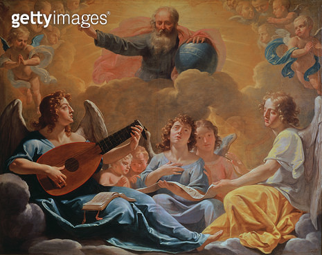 <b>Title</b> : A Concert of Angels (oil on canvas)<br><b>Medium</b> : oil on canvas<br><b>Location</b> : Musee des Beaux-Arts, Rouen, France<br> - gettyimageskorea
