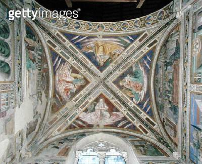 <b>Title</b> : Episodes from the Life of St. Augustine, from the choir ceiling, 1463-65 (fresco)Additional Infocommissioned by Fra Domenico Str<br><b>Medium</b> : fresco<br><b>Location</b> : S. Agostino, San Gimignano, Italy<br> - gettyimageskorea