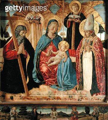 <b>Title</b> : Madonna and Child with SS. Andrew and Prosper, 1466 (tempera and gold leaf on panel)Additional Infomistakenly thought to be Bish<br><b>Medium</b> : tempera and gold leaf on panel<br><b>Location</b> : Pinacoteca Civica, San Gimignano, Italy< - gettyimageskorea