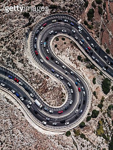 An aerial view of a winding road shaped as a letter S in the north of Malta. - gettyimageskorea
