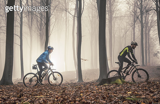 Two mountain bikers in misty forest - gettyimageskorea