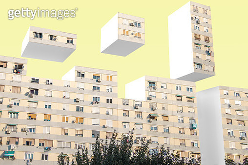 Creative picture of urban blocks stacking like video game in surreal image manipulation. - gettyimageskorea
