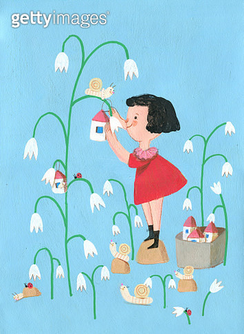 little girl gives home for snails, vertical illustration - gettyimageskorea