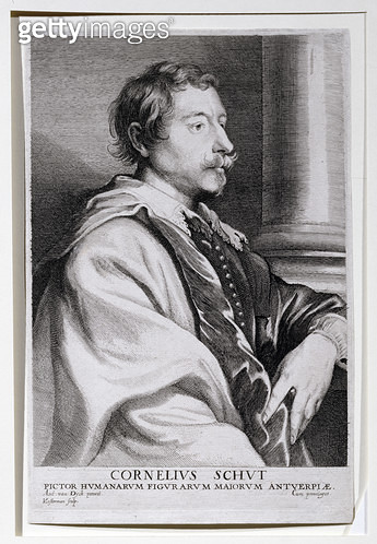 <b>Title</b> : Portrait of Cornelis Schut (1597-1655) a pupil of Rubens, engraved by Lucas Vorsterman (1624-67) for Van Dyck's 'Iconography', a<br><b>Medium</b> : engraving<br><b>Location</b> : Private Collection<br> - gettyimageskorea