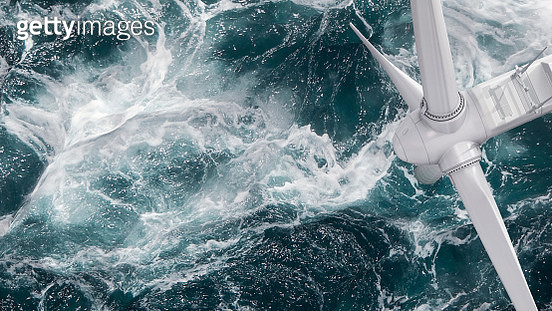 Aerial panorama of a close up wind turbine in the sea - gettyimageskorea