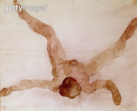<b>Title</b> : Nude Female Lying on her Back (w/c on paper)<br><b>Medium</b> : watercolour on paper<br><b>Location</b> : Musee Rodin, Paris, France<br> - gettyimageskorea