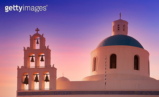 Orthodox church and bell tower at sunset - gettyimageskorea